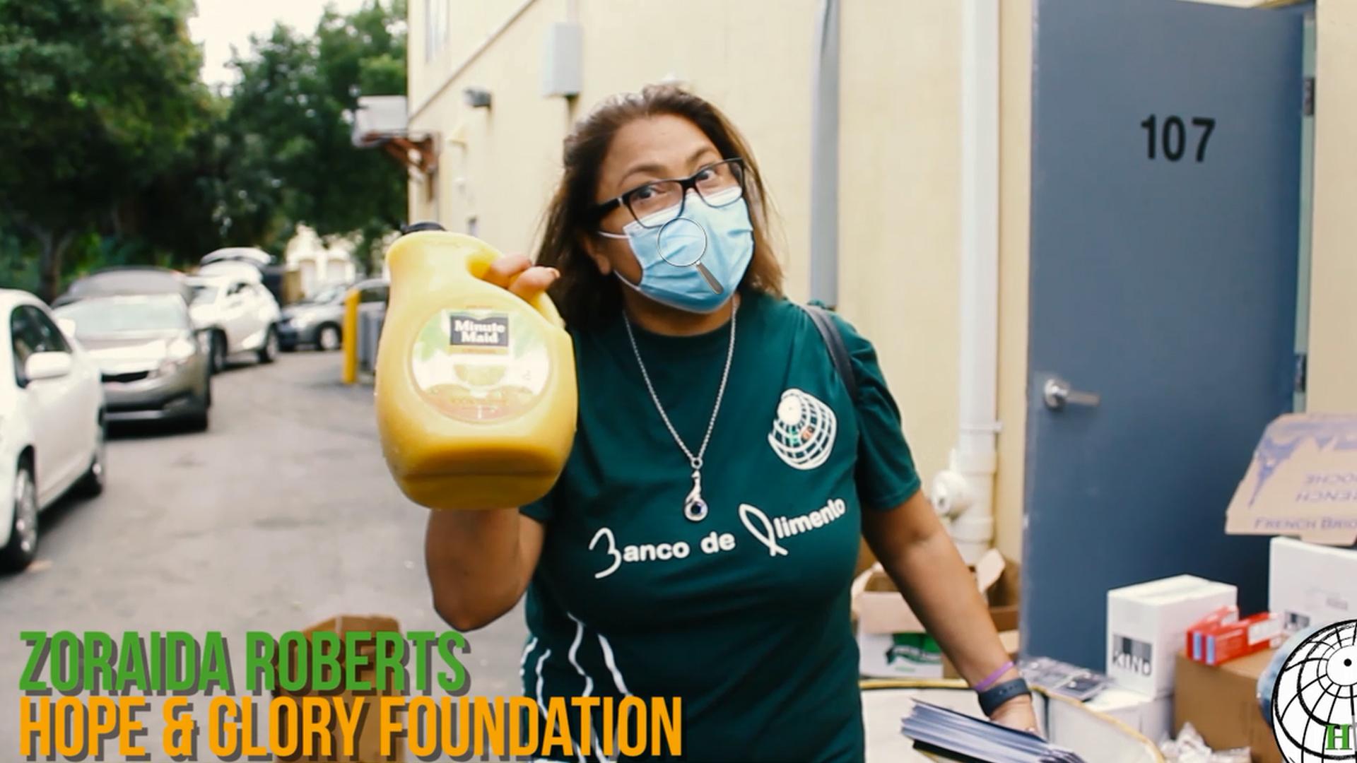 Zoraida Presenting Food Drive Donations